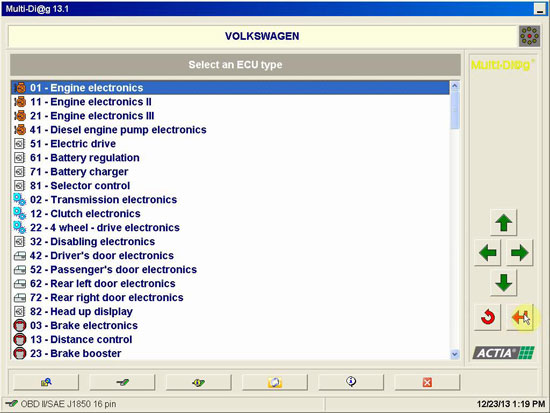 Multi-Diag Access V2013.2 supported Volkswagen ECU type