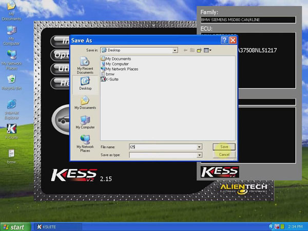 KESS V2 V2.15 FW4.036 read BMW ECU