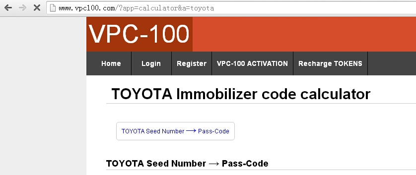 VPC-100 toyota seed number