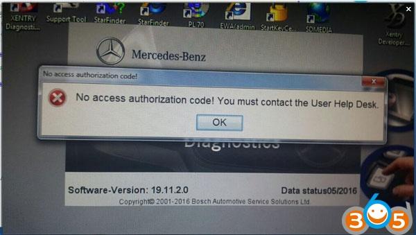 Xentry-no-accès code d'autorisation