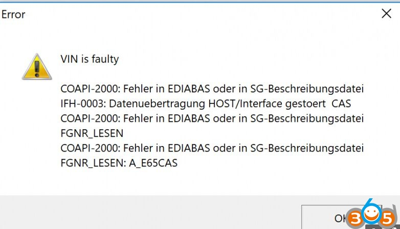 BMW NCS Expert VIN is faulty COAPI-2000 (a lot of solutions