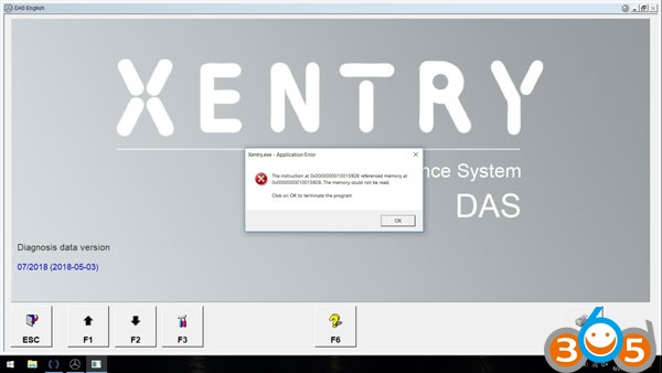 XENTRY-application-error