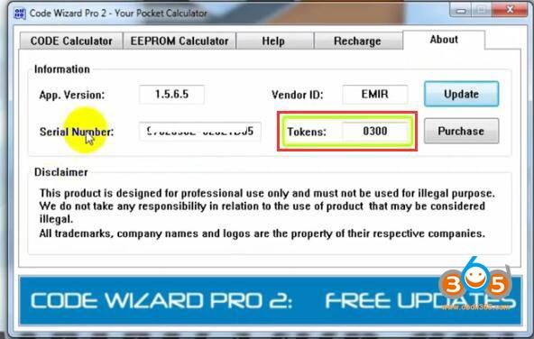 Code Wizard Pro2 Token Recharge 5