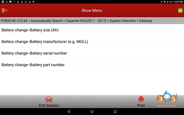 Cayenne 958 Battery Coding With Launch X431 V+ 02