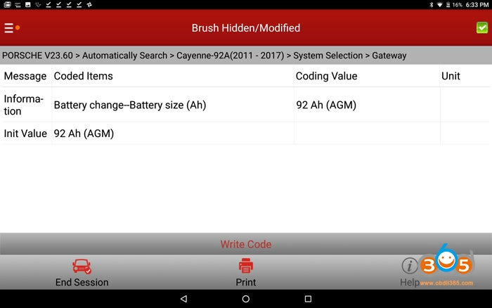 Cayenne 958 Battery Coding With Launch X431 V+ 03