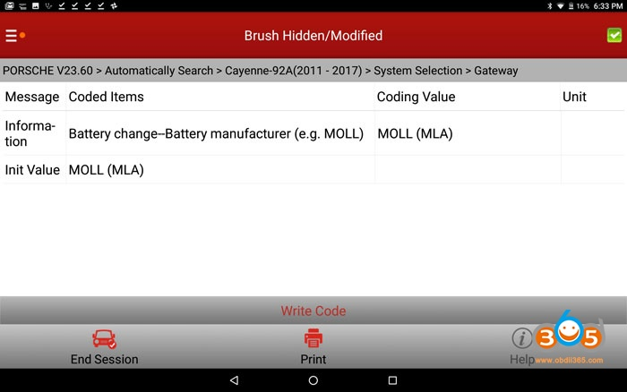 Cayenne 958 Battery Coding With Launch X431 V+ 04