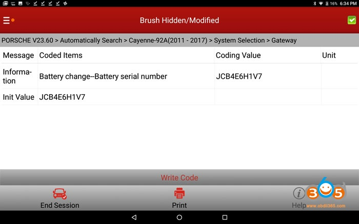 Cayenne 958 Battery Coding With Launch X431 V+ 05