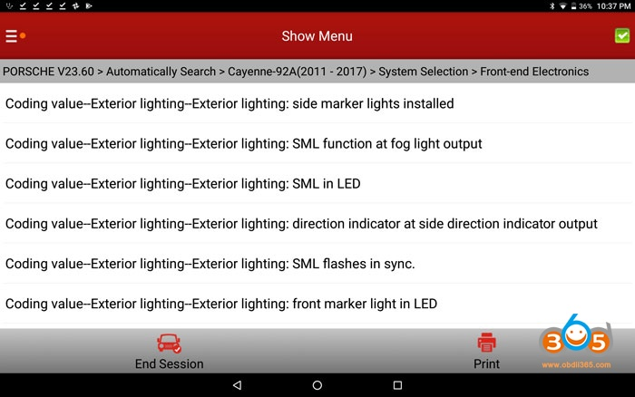 Cayenne 958 Sidemarker Light Coding 01