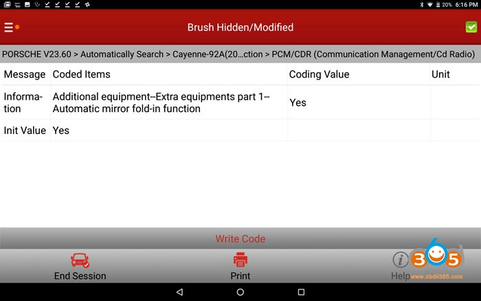 Enable Cayenne 958 Hidden Pcm Features Coding 03