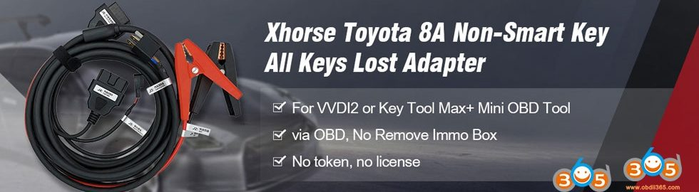 Xhorse Toyota 8A Non Smart Key All Keys Lost Adapter
