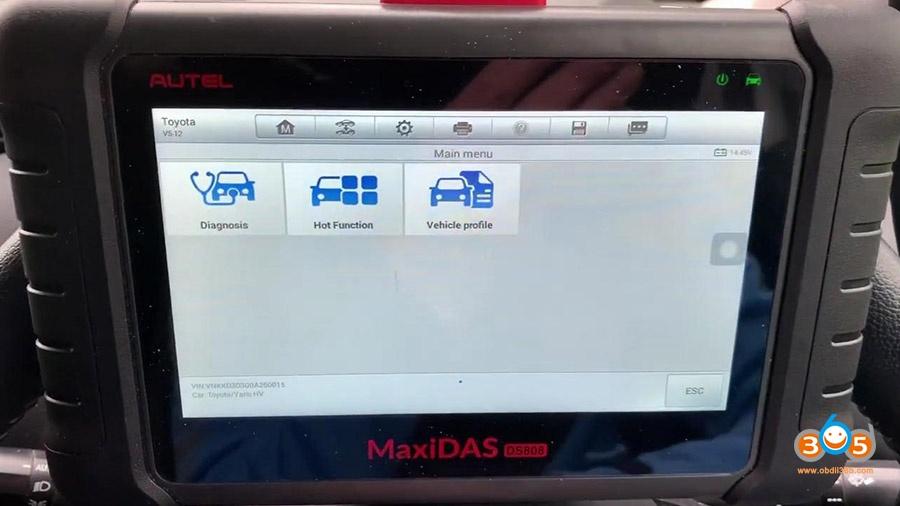 Autel Ds808 Diagnose Toyota Yaris 2012 03