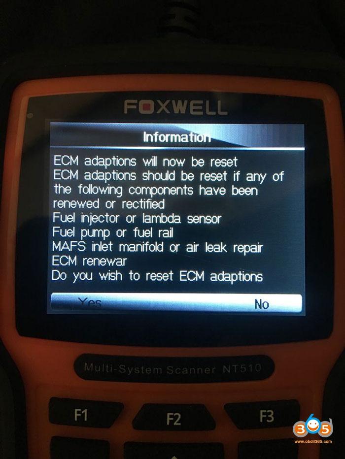 Foxwell Nt510 Reset The Ecm And Ecu Adaptions 01