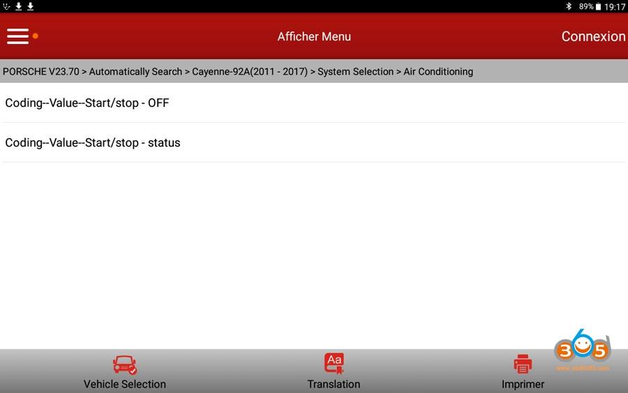 X431 V Cayenne Start Stop Settings 01