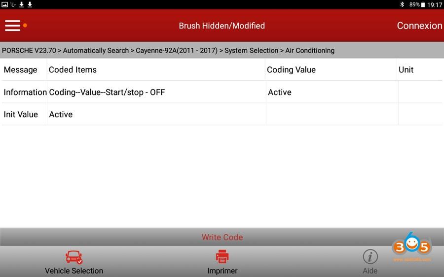 X431 V Cayenne Start Stop Settings 02