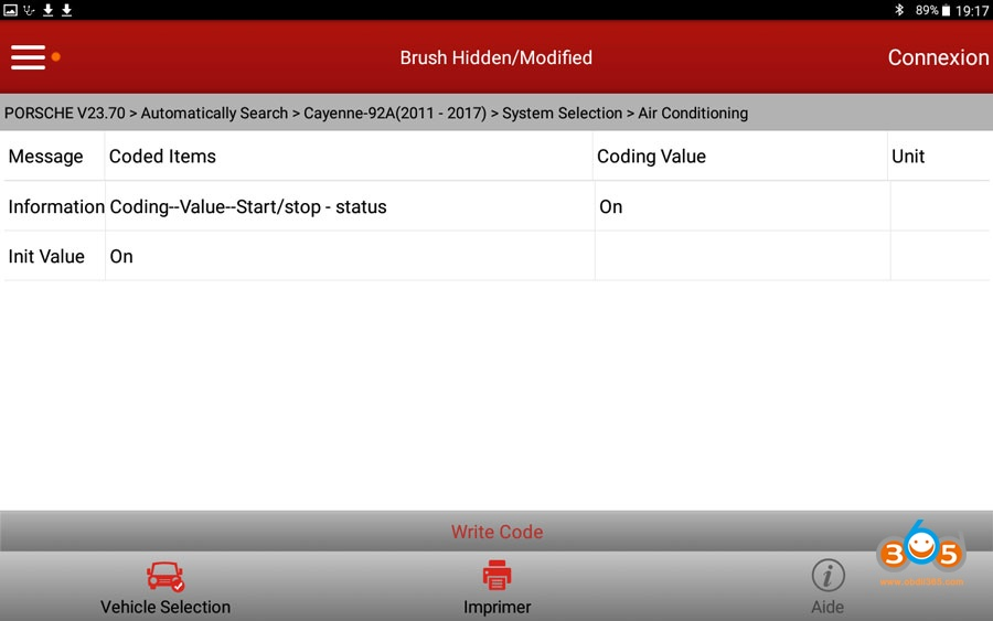 X431 V Cayenne Start Stop Settings 03