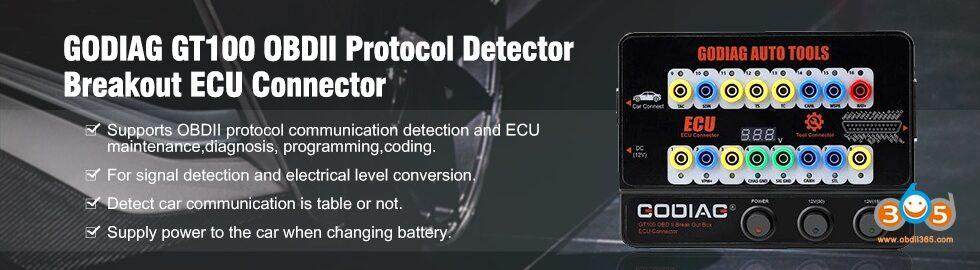 980 280 GODIAG GT100 OBDII Protocol Detector Breakout ECU Connector