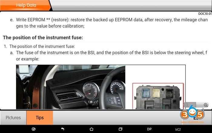 Obdstar Peugeot Odomneter Correction 7