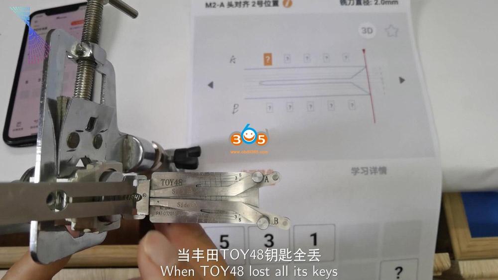 Lishi Condor Dolphin Read Toy48 Key Bitting Code 01