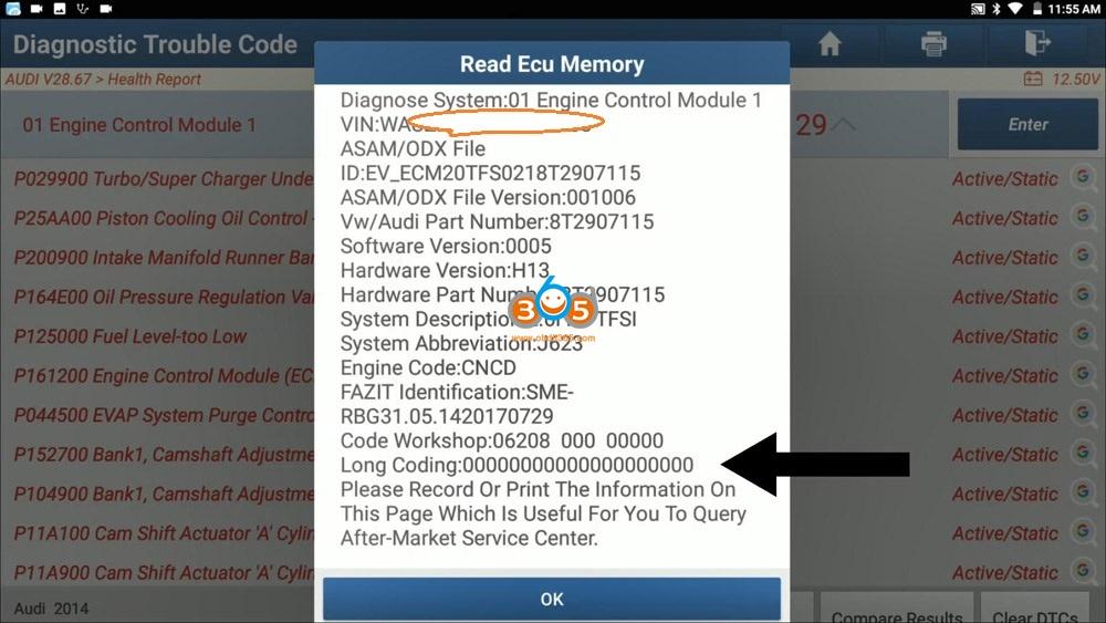 Launch X431 Pad V Audi A5 Engine Ecu Long Coding 02