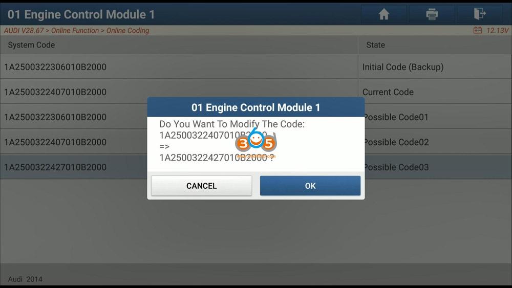 Launch X431 Pad V Audi A5 Engine Ecu Long Coding 08