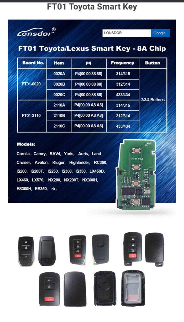 Lonsdor Smart Key Pcb Ft01