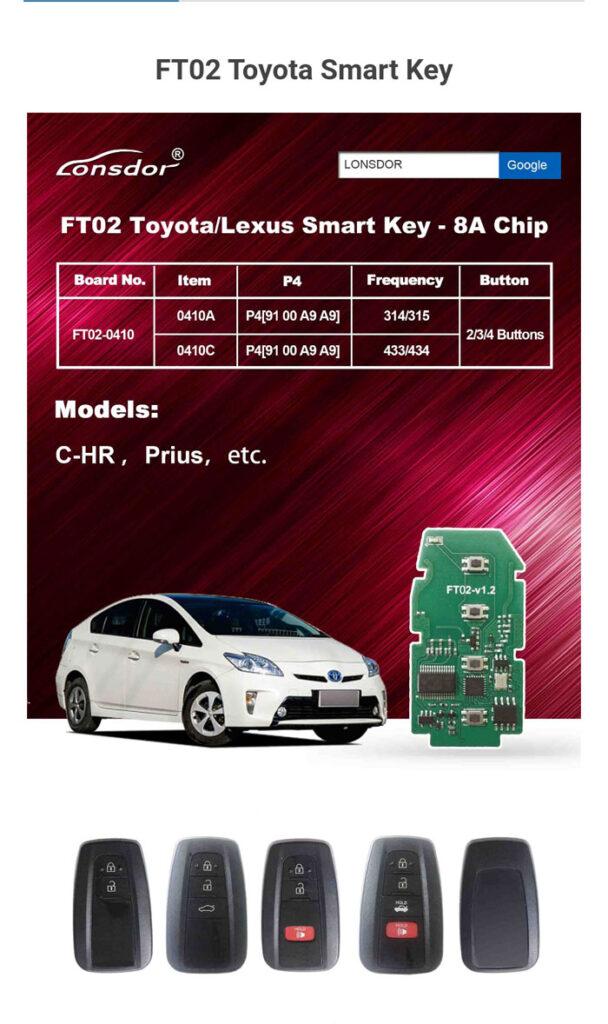 Lonsdor Smart Key Pcb Ft02