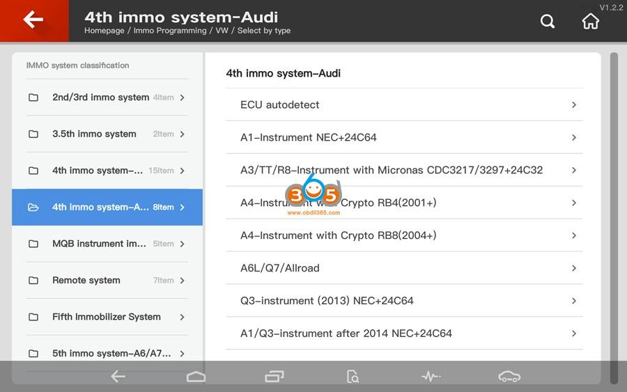 Vvdi Key Tool Plus Audi 4th Immo Programming 01