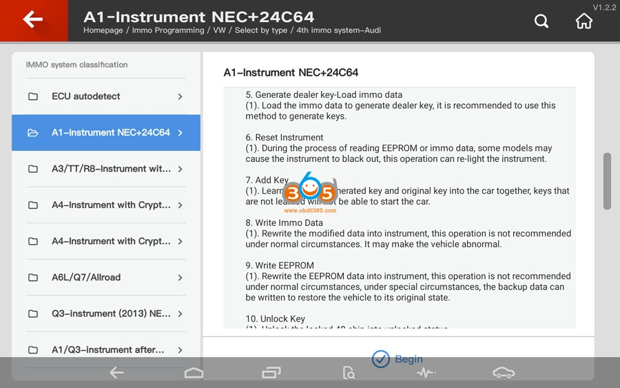 Vvdi Key Tool Plus Audi 4th Immo Programming 03