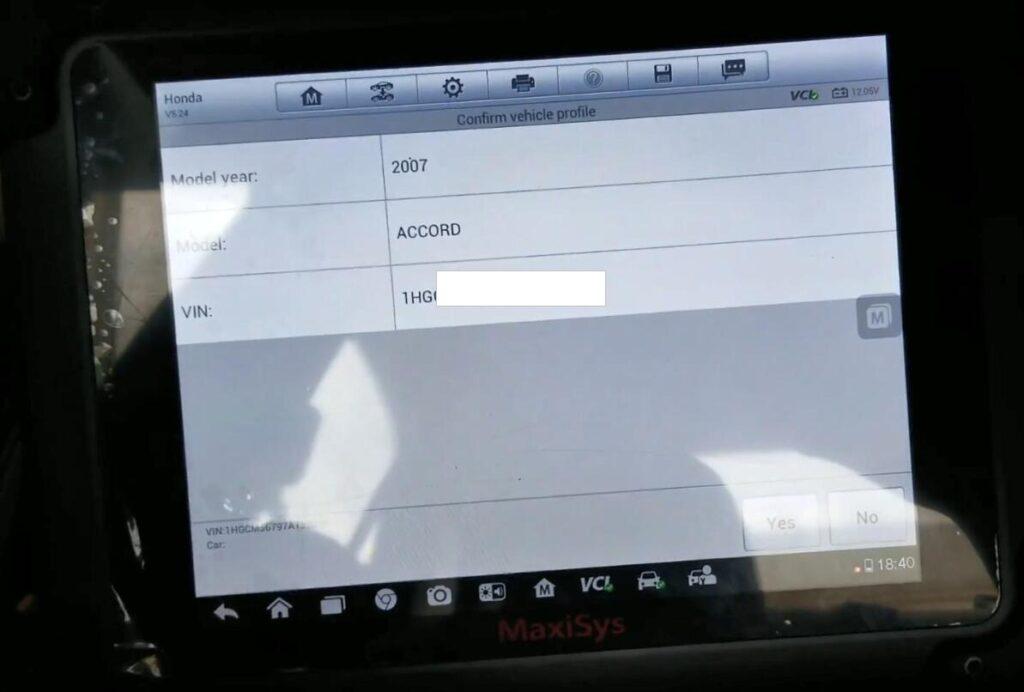 Autel Maxisys Pro Rewrite Vin 2007 Honda Accord 04