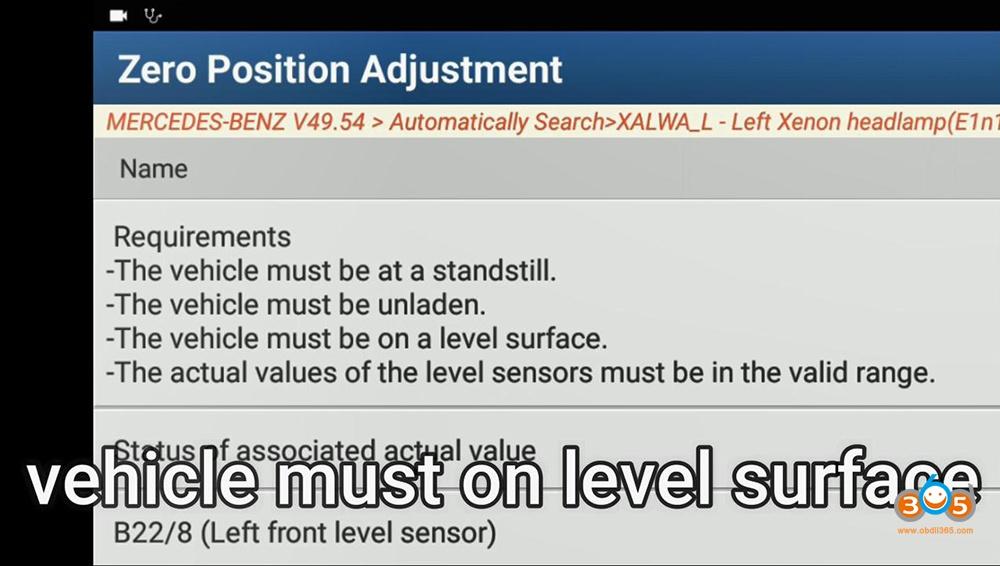 Launch X431 Pad V Xenon Headlamp Calibration 15