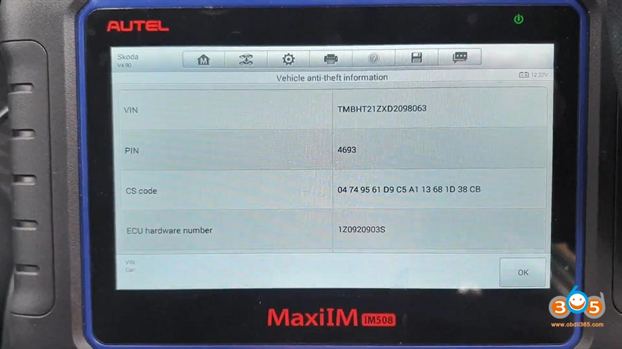 Autel Maxiim Im508 Skoda Octavia 2013 All Keys Lost 10