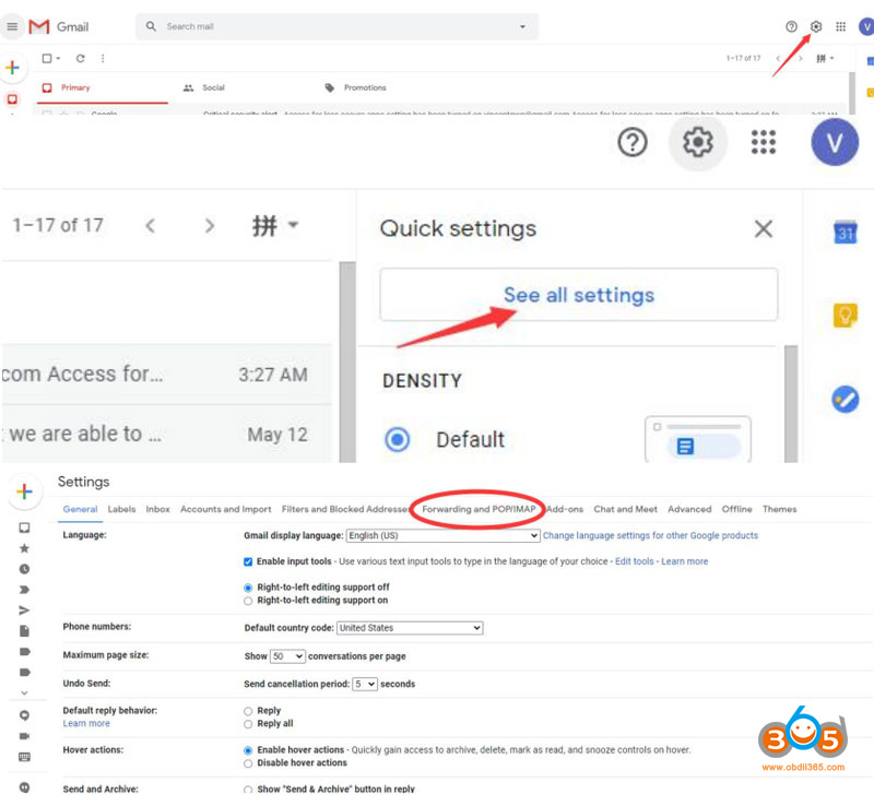 Autel Gmail Setting 1
