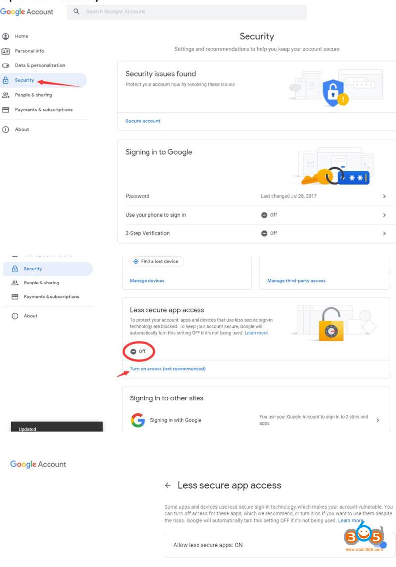 Autel Gmail Setting 3